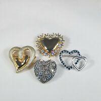 Heart Rhinestone Glitter Brooch Lot Of 4 Silver Gold Tone Vintage Pins Valentine