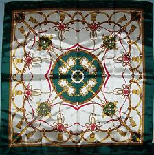 Silky Satin Scarf 33x33 Green White Gold Red Tassels & Belts NEW