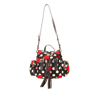 RRP€885 RED VALENTINO Convertible Flap Backpack Bag Polka Dot Tassels Drawstring