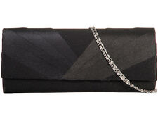 Ladies Black Pleated Satin Clutch Bag Evening Party Prom Races Bridal