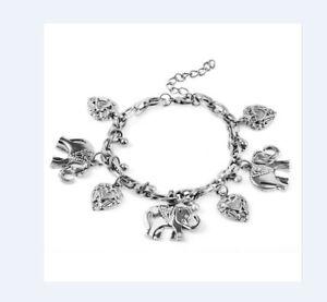 Damen Armband Kettenarmband Armkette Indischer Elefant Herz