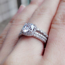 925 Sterling Silver White Cz Size 10 Engagement Wedding Ring 3pcs Set For Women