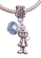March Birthstone Little Boy Baby Crystal Dangle Bead for European Charm Bracelet