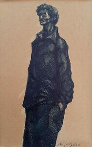 MOSHE BERNSTEIN (1920-2006), Dark Blue Ink on Paper, Signed, Dated 1956