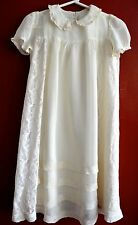VINTAGE 1940s CHRISTENING GOWN LACE & CHIFFON LONG SLIP ATTACHED INFANT BABY