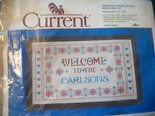 """Current """"Welcome"""" Counted Cross Stitch Kit Size 12"""" x 20"""" Date 1985"""