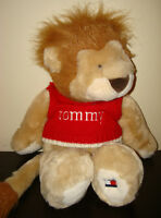 Vintage 90s TOMMY HILFIGER LION BEAR STUFFED Plush Red Sweater Holiday SOFT Toy