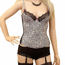 NEW BLACK AND WHITE ANIMAL PRINT BASQUE SIZE 38C PRIVATE