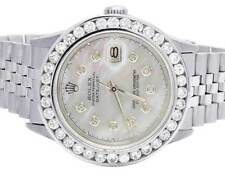 Mens Rolex Datejust 36MM Quickset 16014 Jubilee White MOP Dial Diamond Watch 5Ct