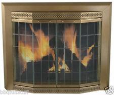 Pleasant Hearth Glass Fireplace Door Grandior Bay Antique Brass Medium GR-7201