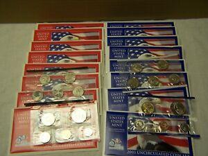 (8) 2003 US MINT UNCIRCULATED COIN SET P&D W/COA