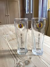 Fosters Pint Beer Glass CE 20oz Official Nucleated Activated Box of 2 Glasses