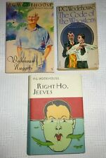 PG Wodehouse Lot of 3 Books  Code of Woosters  Nuggets  Right Ho, Jeeves  Mixed