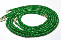 """1 STAND GENUINE Super Natural Emerald Faceted Rondelle beads Necklace 3 -5MM 20"""""""