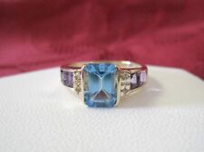 14K YELLOW GOLD BLUE TOPAZ AMETHYST PRINCESS CUT & DIAMONDS RING SIZE 6.25