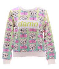 T-517 Mops Hund Damn Green Bunt Pastel Goth Lolita Pullover Sweatshirt Harajuku