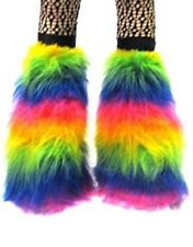 Pink Black Green Neon Flo Fluffy Legwarmers Boot Covers Dancewear Clubbing Rave