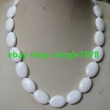 "Natural Beautiful 13x18mm White Oval Shape Porcelain Necklace 20""AAA"