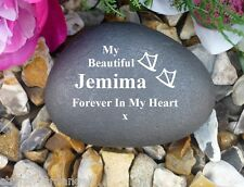Pet Memorial (Stone Effect) - Personalised Pebble -Duck - Perfect in your garden
