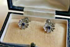 FINE VINTAGE 9CT GOLD SAPPHIRE DIAMOND FLOWER HEAD EARRINGS HEART PETALS CASED