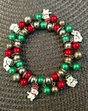 Vintage Christmas charm bracelet SNOWMAN ENAMEL CHARM BRACELET