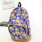 Womens Girls Vintage Flowers Canvas Book Satchel School Backpack Travel Rucksack