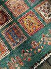 Fine Quality Handmade Pakistani Four Seasons Contemporary Green Oriental Rug,4x6