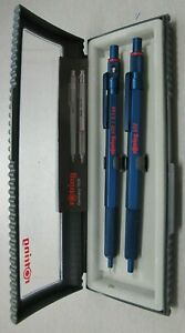 Rotring 600 Blue Hexagonal Knurled Grip Ballpoint Pen & Pencil Set New In Box