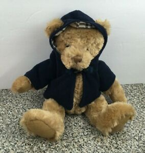 Burberry Fragrance Teddy Bear Nova Check Plaid Blue Coat Hood Plush Stuffed