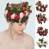 Women Wedding Party Boho Flower Garlands Hair band Wreath Crown Headband Floral