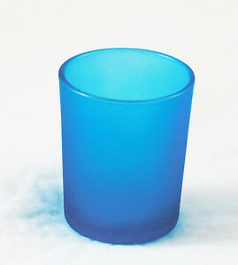 Turquoise Cyan Aqua Glass Tealight Votive Candle Holder Tiffany Blue BUY QTY RQd