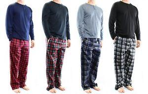Lounge Pajama Pant 2 Piece Set Mens Jersey Knit Top, Microfleece Bottom Set