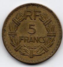 Pièce ancienne5 francs Lavrillier bronze alu 1940 ttb