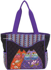Laurel Burch Two Wishes Cats Large Shoulder Tote Bag Quilted New 2018