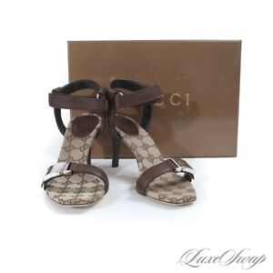 NIB $525 Gucci Made Italy Lifford Monogram Canvas Brown Leather Strap Shoes 7.5