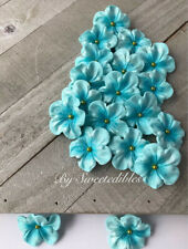 Gum Paste Flowers Blossoms Light Blue Sugar Edible Blossoms Cakes and Cupcakes