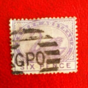 AUSTRAILA STATE WESTERN AUSTRALIA  POSTAGE STAMP SIX PENCE 6d SWAN USED GPO CAN