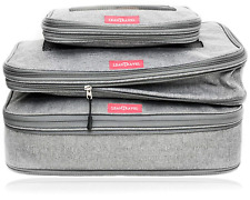 LeanTravel Compression Packing Cubes Luggage Organizers 3 Set Grey