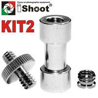 "1/4"" 3/8"" Tripod Screw Flash Mount Bracket Holder Camera Adapters Kit-2 UK"