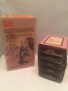 Vintage Sears Microscope With Complete Slide Set Original Boxes EUC