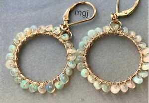 Ethiopian Opal Earring Natural Gemstone Silver 925 Sterling Women's Jewelry New