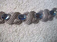 NOLAN MILLER Bracelet Glorious BIG & BOLD Silvertone & Blue Crystal  Free Ship