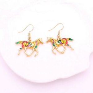 Gorgeous yellow gold tone colorful crystal horse shaped dangle earrings