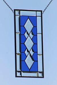 Cobalt Blue Beveled Stained Glass Window Panel, 19.5x 8.5