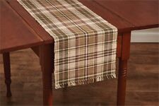 RIBBED TABLE RUNNER 13X36  TAN IVORY GREEN BURGUNDY PLAID THYME BY PARK DESIGNS