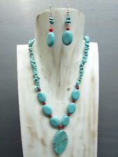 """16"""" Turquoise Chip Coral Necklace with Oval Pendant Free Earrings Handmade"""