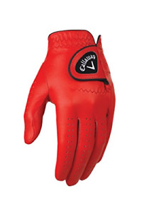 Callaway Golf Mens OptiColor Leather Glove, Red, Large, Worn on Left Hand