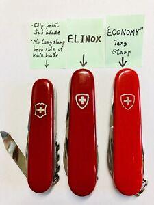 """ELINOX"", ""ECONOMY tang stamp"", Clip point sub blade. Victorinox."