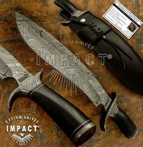 IMPACT CUTLERY RARE CUSTOM DAMASCUS SASQUATCH BOWIE KNIFE BULL HORN HANDLE