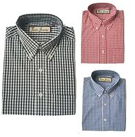 Retro Mens Gingham Check Short Sleeve Shirt Button Down Collar Mod RRP £28.99